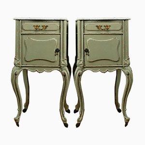 Tables de Chevet Antique en Acajou & Blanc Carrara avec Plateaux en Marbre à Roulettes, Set de 2