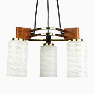 Mid-Century Triangular Teak, Brass & Glass Pendant Lamp