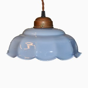Art Deco Ceiling Lamp with Blue Shade, 1920s