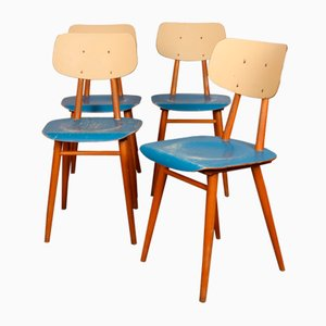 Blue Dining Chairs from TON, 1960s, Set of 4