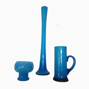 Blaue Mid-Century Vasen von Friedrich Glas, 1960er, 3er Set