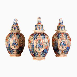 Antique Dutch Cashmere-Colored Glazed Vases by Edme Samson for The Lampet Kan Dutch Delft Pottery, Set of 3