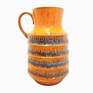 Vintage West German Orange Pottery Vase from Jasba Keramik