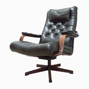 Mid-Century Danish Leather Rosewood Swivel Tilt Armchair