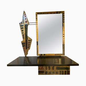 Console with Mirror and Decoration in Wood and Enameled Copper, Italy, 1960s