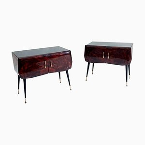 Mid-Century Italian Nightstands in Maple Root, Set of 2