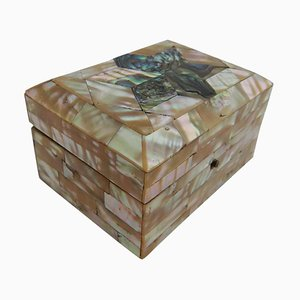Antique Mother of Pearl and Abalone Jewellery Box