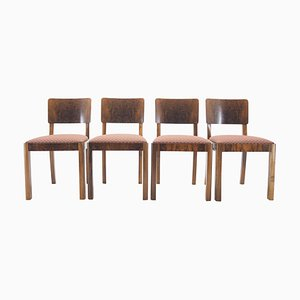 Art Deco Dining Chairs, Czechoslovakia, 1930s, Set of 4