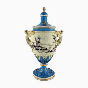 Jarrón ornamental grande de porcelana pintada a mano con escenas clasicistas