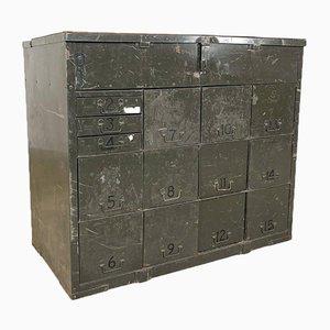 Industrielle Metall Kommode in Armee Grün