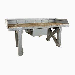 Tavolo da lavoro antico industriale in legno grigio con cassetto