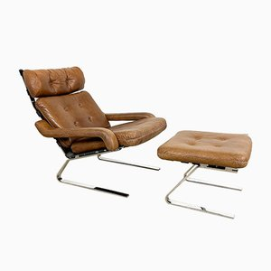 Vintage Cognac Leather Lounge Chair with Ottoman by Rienhold Adolf for Cor, Set of 2
