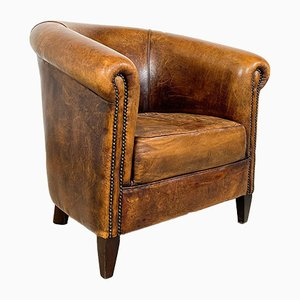 Vintage Cognac Sheep Leather Club Chair