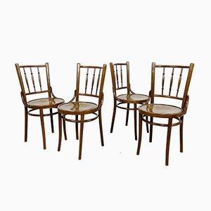 Vintage Wooden Bistro Chairs, Set of 4