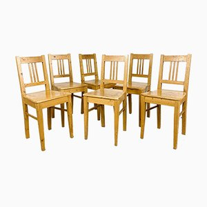 Pine Wooden Farmhouse Chairs, Set of 6
