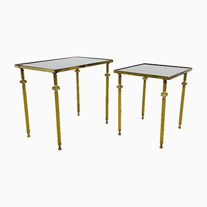 Vintage Golden Nesting Tables with Mirrored Smoked Glass, Set of 2