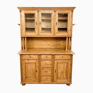 Antique Pine Kitchen Display Cabinet