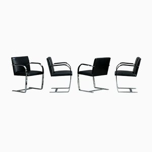 Black Leather Brno Cantilever Bauhaus Armchair with Chrome Top from Knoll