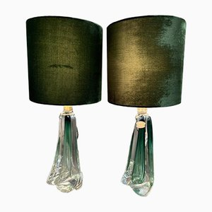 Dark Green Crystal Table Lamps by Val St Lambert, Set of 2
