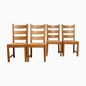 Dutch Oak Ladder Back Dining Chairs with Wicker Seat, 1970s, Set of 4