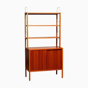 Teak / Oak and Brass Bookcase by Bertil Fridhagen for Bodafors, Sweden, 1960s