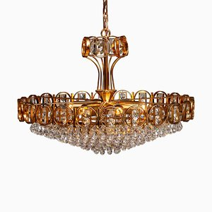 Gold-Plated Brass Chandelier with Faceted Crystals from Palwa, Germany, 1970s