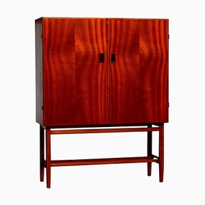 Slim Mahogany Dry Bar / Cabinet from Forenades Mobler, Sweden, 1950s