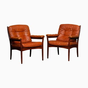 Cognac Leather Armchairs from Göte Möbel, Sweden, 1970s, Set of 2