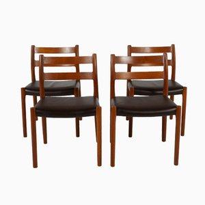 No. 84 Teak Dining Chairs by N.O Møller for Møller Møbler, Set of 4
