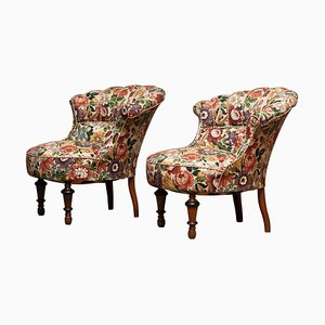 19th Century French Floral Slipper Chairs, Set of 2