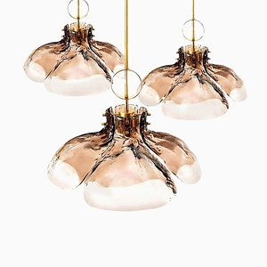 Large Four-Panel Glass Flower Chandelier from Kalmar, Austria, 1970s