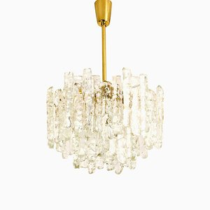 Brass Ice Glass Pendant Chandelier from Kalmar, 1970s