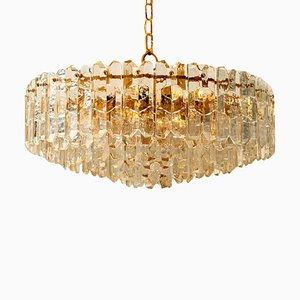 Large Palazzo Gilt Brass and Glass Chandelier from Kalmar, Austria, 1970s