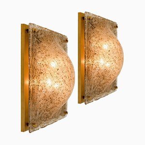 Square Domed Murano Flushmount in Smokey Glass and Brass