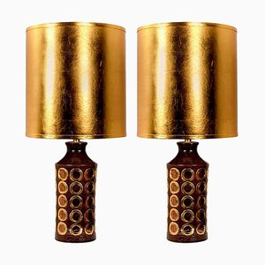 Large Bitossi Lamps from Bergboms with Custom Made Shades by Rene Houben, Set of 2