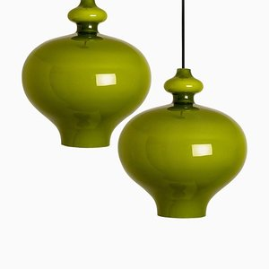 Hängelampen aus Grünem Glas von Hans-agne Jakobsson für Staff, 1960er, 2er Set