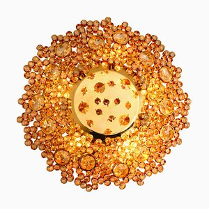 Vergoldete Messing & Kristallglas Einbauleuchte von Palwa, 1960er