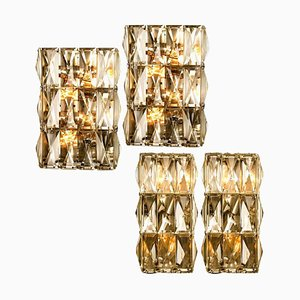 Chrome-Plated Crystal Glass Wall Light Fixtures from Palwa, 1970s, Set of 4