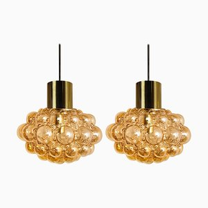 Amber Bubble Glass Pendant Lamps by Helena Tynell, 1960s, Set of 2