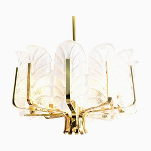 Large Fagerlund Glass Leaves Brass Chandelier from Orrefors, 1960s