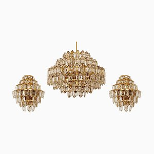 Chandeliers in Brass and Crystal Glass from Bakalowits & Sohne, Austria, 1960s, Set of 2