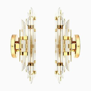Venini Style Murano Glass and Gold-Plated Sconces, Italy, Set of 2