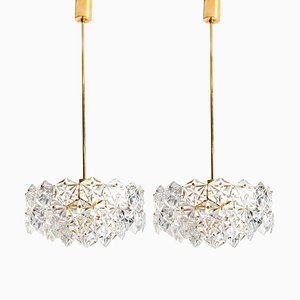 German Faceted Crystal and Gilt Metal Four-Tier Chandelier from Kinkeldey, Set of 2