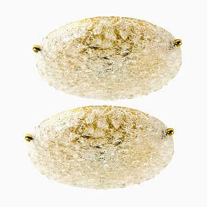 Textured Bubble Glass Flush Mount by Hillebrand, 1960s