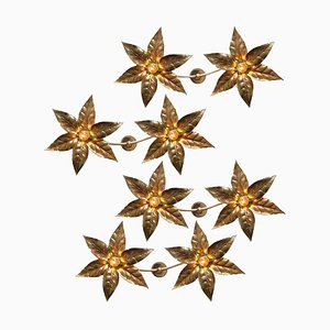 Willy Daro Style Brass Double Flower Wall Light, 1970s