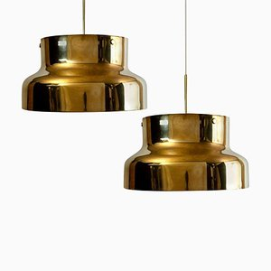 Golden Solid Brass Bumling by Anders Pehrson for Atelje Lantern, 1960s, Set of 2
