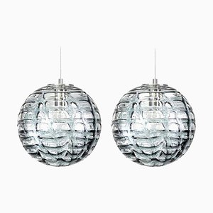 Grey Murano High-End Glass Pendant Lights in Venini Style 1960s, Set of 2