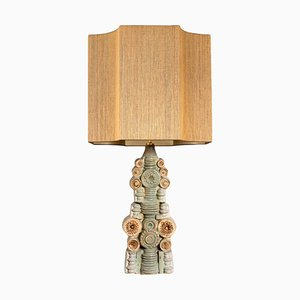 Large Ceramic Table Lamp by Bernard Rooke with Custom Made Silk Lampshade by René Houben