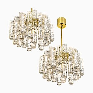 Ice Glass Chandeliers from Doria, 1960s, Set of 2
