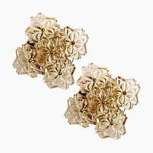 Mid-Century Brass Floral Wall Lights by Hillebrand, 1970s, Set of 2